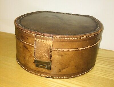 Quality Antique Real Tan Leather Collar Box & Collars