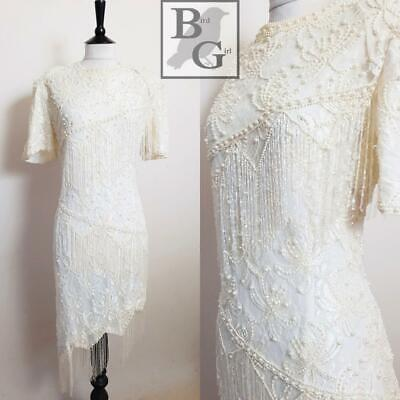Scala 80S Vintage White Lace Bead Tassels Gatsby Flapper Evening Dress 18-20 Xl