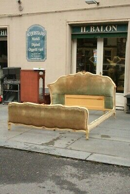 Double Bed Wooden Lacquered & Golden, First half' of '900 / Bed