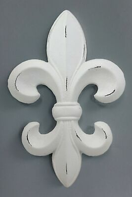 "Rustic White Southwestern Fleur De Lis Emblem Wall Accent Decor Plaque 10"" Tall"
