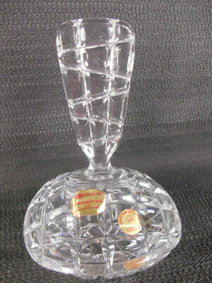 Vtg HOFBAUER Crystal Vanity Dresser Powder Box Candy Jar Dish Tall Finial Lid