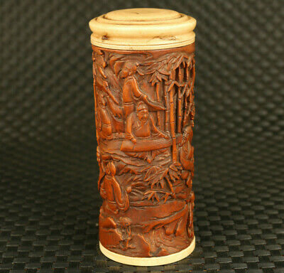 antique Asian old boxwood hand carved scholar bamboo statue tea caddy ornament