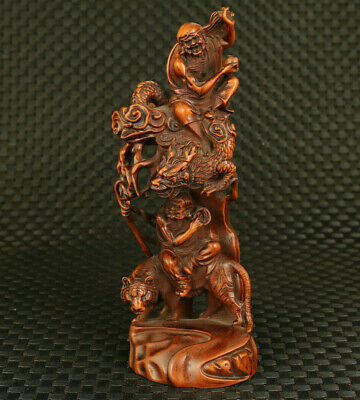 chinese old boxwood hand carved dragon tiger buddha statue figure collectable