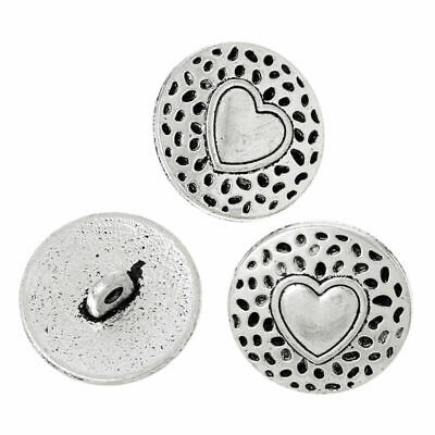 20pcs Antique Silver Heart Carved Alloy Round Sewing Buttons Shank Buttons 18mm