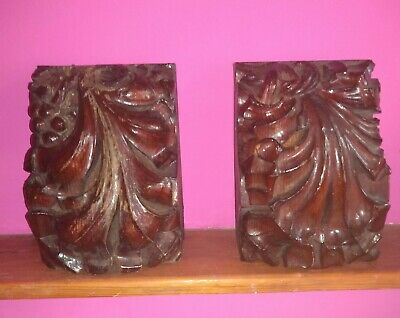 Good Pair Large Antique Gothic Carved Oak Church Corbels