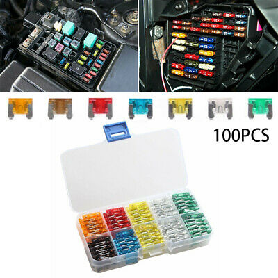 100pcs Assorted Auto Car Micro Mini Low Profile Fuse 5A 7.5A 10A 15A 20A 25A