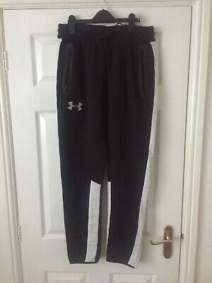 Boys Under Armour Jogging Bottoms Black with white stripe Size LG