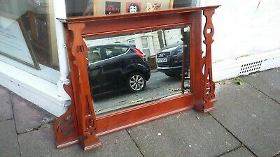 Vintage Edwardian Red Mahogany Over Mantle Mantel Mirror.