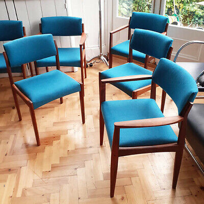 Stunning set of 6 Danish Rosewood Dining Chairs by Bramin, Recovered Mid Century