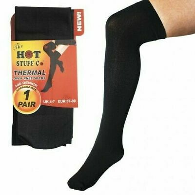 2X LADIES THERMAL OVER THE KNEE SOCKS WINTER TOG RATED BLACK 140 DENIER 4-7