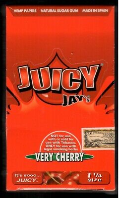 Juicy Jay's VERY CHERRY Flavored 1 1/4 Size Hemp Rolling Papers - BOX/ 24 PACKS