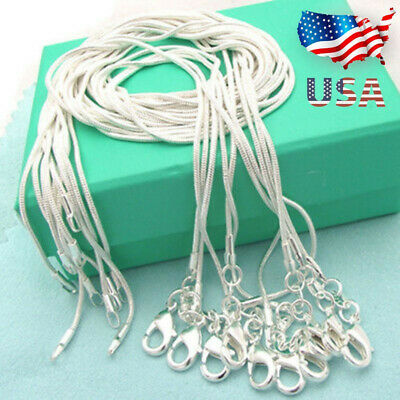 """wholesale 10PCS sterling solid silver 1MM /""""O/"""" chain necklace 18inches DC09"""