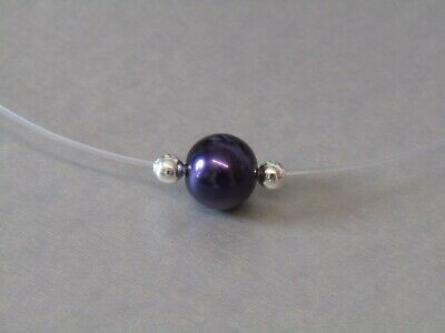 Deep Purple Glass Pearl Floating illusion Necklace Handmade to Order..Christmas!