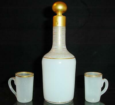 Gilt Opaline Glass 19th Cordial Decanter with Cups
