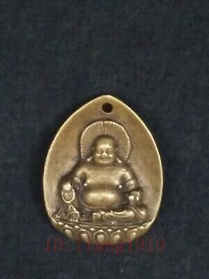 Collection Old Chinese Copper Carving Maitreya Buddha Statue Pendant Decoration