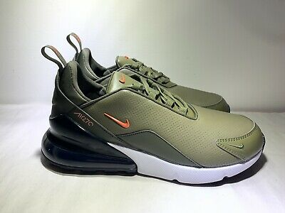 NIKE AIR MAX 270 PRM Leather Olive Green White Mens Shoes