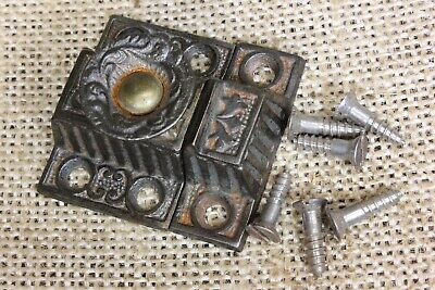"""old Cabinet catch jelly Cupboard Very small  Latch decorated knob 1 5/8"""" rustic"""