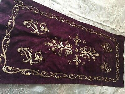 Beautiful Vintage Hand-Embroidered Velvet Table Runner With Metallic Threads