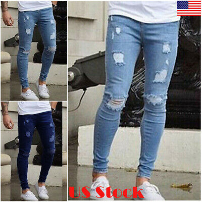 Mens Slim Fit Skinny Ripped Jeans Super Stretch Denim Distressed Blue S-3XL