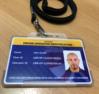 Drone Operator Photo ID Card - 15 QR Drone Stickers with operator ID - Pilot ID