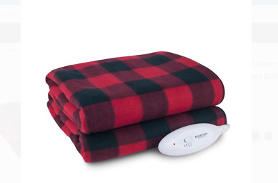 Heated Electric Fleece Throw Blanket Full Size Bed Red Buffalo Home Warm Bedding