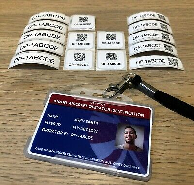 Model Aircraft Flyer Photo ID Card - Holder/Lanyard + 15 Operator ID Labels