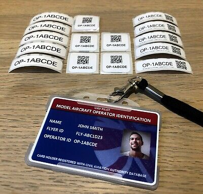 Model Aircraft Operator Photo ID Card - Holder/Lanyard + 15 Operator ID Labels