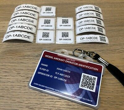 Model Aircraft QR Coded Operator ID Card - Lanyard + 15 Operator ID Labels.