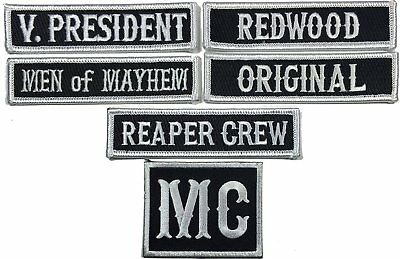 Officer Title Rank Vest Patches President VP MC Biker club Patch Set 6pc-Iron on