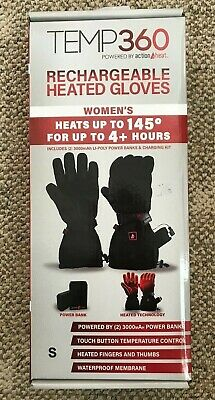 Temp 360 Womens Rechargeable Heated Gloves Black Size S Snow Warm Winter