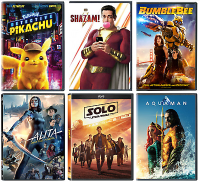 DVD (YOU PICK) Aquaman, Shazam!, Alita, Pokemon, Bumblebee, Solo-BUY MORE & SAVE