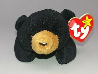 BLACKIE the Black Bear Pristine with Mint Tags Retired TY Beanie Baby PVC Pellets