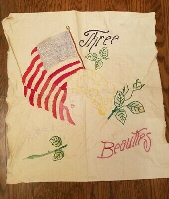 Vtg. Antique Early 1900s Embroidered Panel 3 American Beauties Flag,Roses,Lady