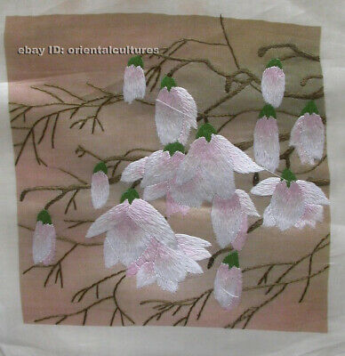 """Chinese 100% hand embroidered silk suzhou embroidery art:magnolia flower 8"""""""