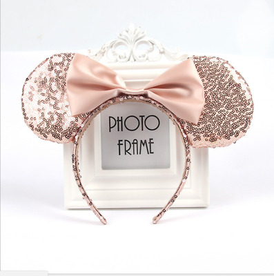 NEW Disney Parks ROSE GOLD Champagne Minnie Mouse Bow Sequins Ear Headband Ears