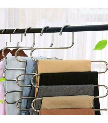 2 Pcs 5 Layer SType Multi-function Pants Hangers Trousers Holder Scarf Tie Towel