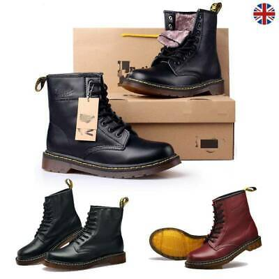 Womens Mens Winter Ankle Boots Real Leather Classic Combat Boots Fur Lined Shoes