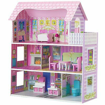 Large Wooden Doll House Furniture Dollhouse Toy Girls Playset Pink Children Kids