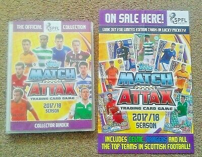 Match Attax SPFL 2017/18 - Complete Set In Binder + 10 Limited Editions + Poster