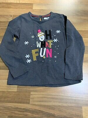 Girls Long Sleeve Christmas Top. M&S. Age 4-5 Years. VGC