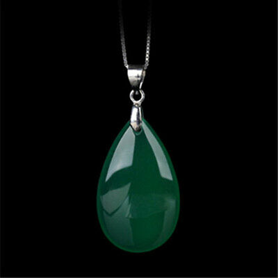 Waterdrop Shape Fine Natural Green Chalcedony Jade Pendant Necklace Lucky Amulet
