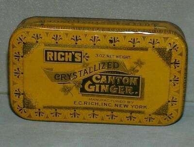 VINTAGE ADVERTISING TIN RICH'S CRYSTALIZED 3 OZ CANTON GINGER TIN orange