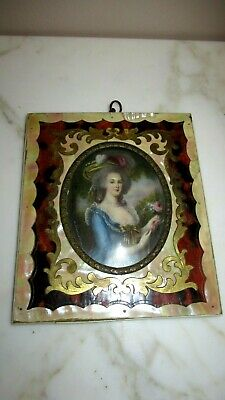 Antique Miniature Portrait on Ivory Mother of Pearl Frame Signed Gainsborough