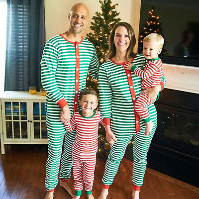 Christmas Family Matching Pajamas Pjs Sets Kids Adult Xmas Elf Pyjamas Nightwear