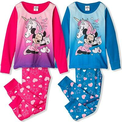 Disney Minnie Mouse Long Sleeve Pyjamas Pajama Pjs Sets in GIFT BOX Girls 2-8yrs