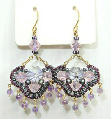 Vintage Victorian Style Pink/Purple Chandelier Dangle Drop Earrings Used #1477