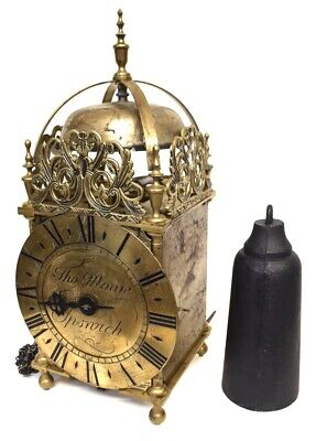 Fantastic Brass Hook And Spike Lantern Clock By Thomas Moore Ipswich With Weight