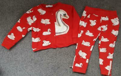 Girls Stella Mccartney 2 Piece, Red, Swan Outfit/Tracksuit,  3 Yrs