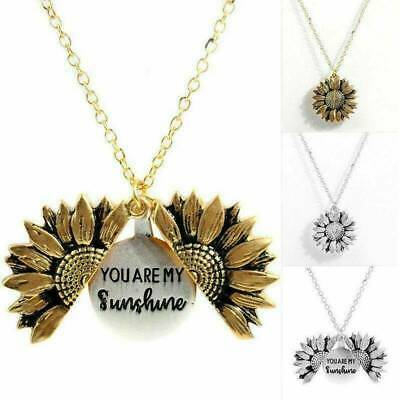 You Are My Sunshine Open Locket Sunflower Pendant Necklace Vintage Jewelry NEW