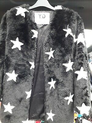 Y.d Child Coat Size 12-13 Black With Stars